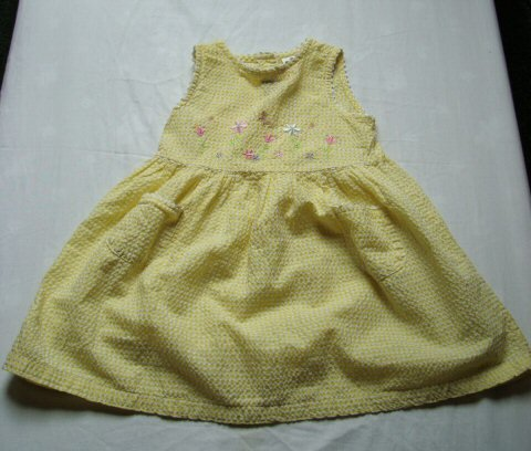 Girls 3T Yellow Embroidered Spring Dress