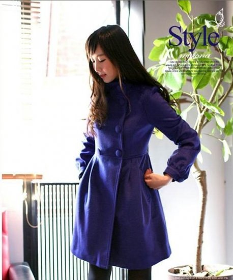 Korean Fashion Wholesale [E2-1095] Coat - Blue - Size L