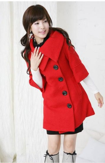 Korean Fashion Wholesale [E2-1087] Coat - Red - Size M