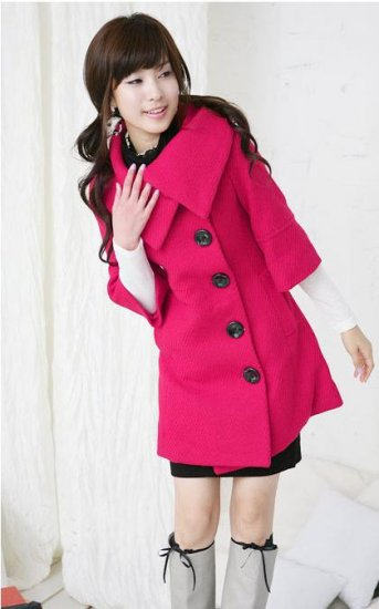 Korean Fashion Wholesale [E2-1087] Coat - Pink - Size L
