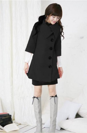 Korean Fashion Wholesale [E2-1087] Coat - Black - Size L
