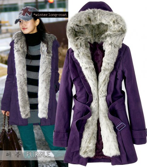 Korean Fashion Wholesale [E2-1001] Coat - Purple