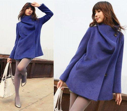 Korean Fashion Wholesale [E2-1091] Coat - Blue - Size M