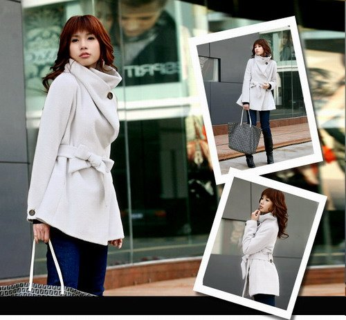 Korean Fashion Wholesale [E2-1091] Coat - White - Size L