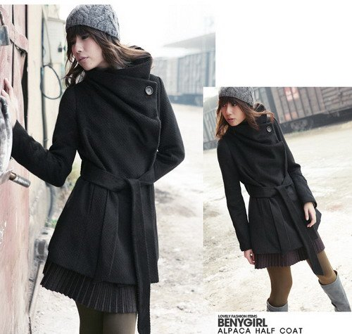 Korean Fashion Wholesale [E2-1091] Coat - Black - Size L