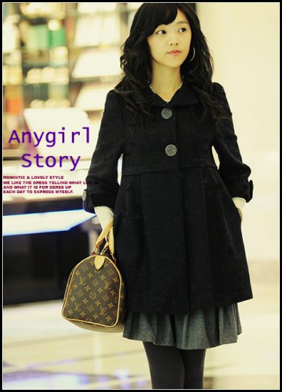 Korean Fashion Wholesale [B2-6181] Classic Thick warm Wool flannel winter pea Coat - Black - Size M
