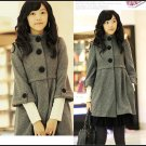 Korean Fashion Wholesale [B2-6181] Thick warm babydoll button up Wool flannel Coat - Gray - Size L