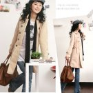 Korean Fashion Wholesale [B2-6164] Classic long trench French peacoat Coat - Beige cream - Size M