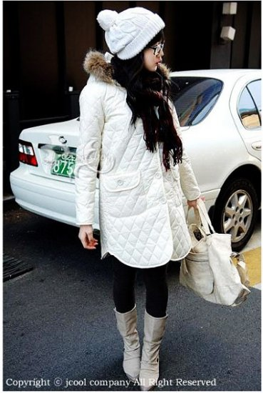Korean Fashion Wholesale [B2-6176] Thick padded long hooded fur trench Winter Coat - White - Size M