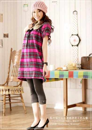 Korean Fashion Wholesale [C2-371] Flannel warm cozy sweater knit checked Dress - pink plaid
