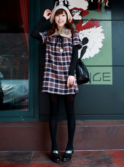Korean Fashion Wholesale [C2-371] Classic Flannel warm cozy sweater knit checked Dress - black plaid