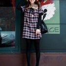 Korean Fashion Wholesale [C2-371] Classic Flannel warm cozy sweater knit checked Dress - black plaid