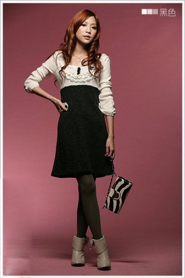 Korean Fashion Wholesale [C2-367] Office Lady Knit Little Sweater colorblock Dress - black & white