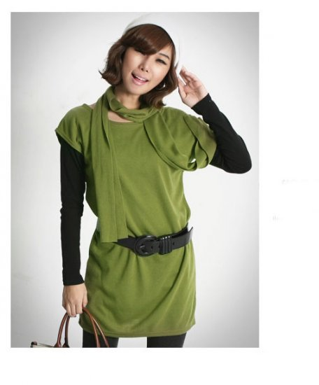 Korean Fashion Wholesale [C2-364] sleeveless little knit tank tunic Dress + scarf set  - Green