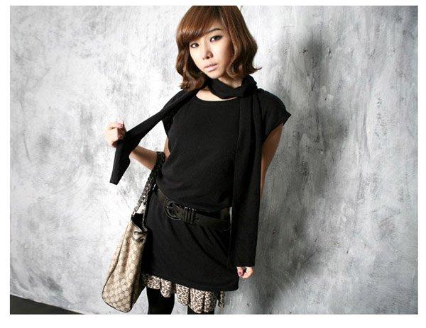 Korean Fashion Wholesale [C2-364] sleeveless little knit tank tunic Dress + scarf set - Black