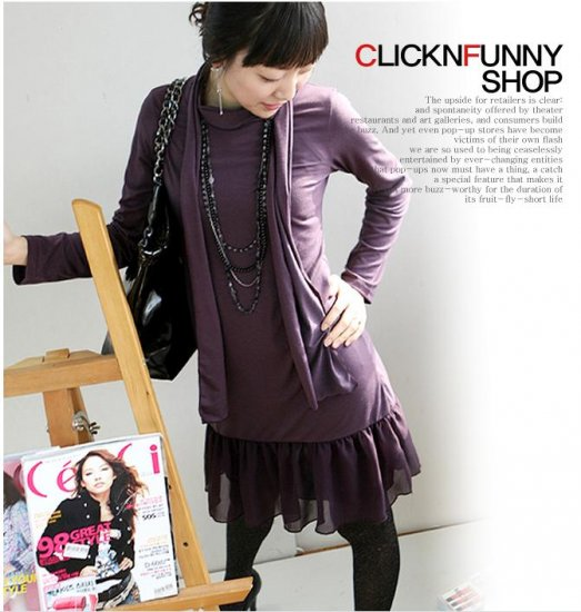 Korean Fashion Wholesale [C2-2201] long sleeve soft Knit chiffon ruffles Dress - purple + scarf