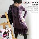 Korean Fashion Wholesale [C2-2201] long sleeve soft Knit chiffon ruffles Dress - purple + scarf