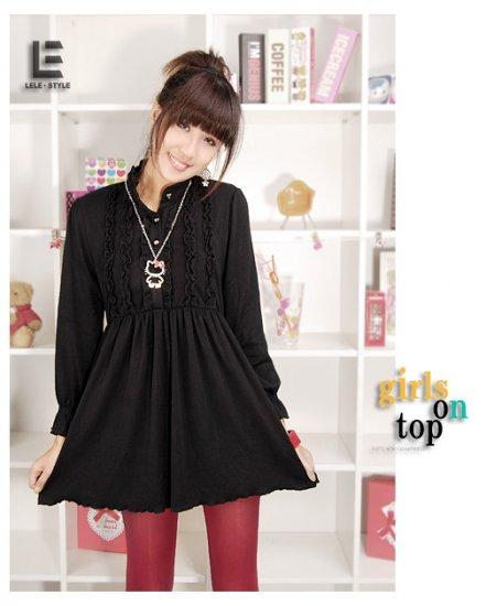 Korean Fashion Wholesale [C2-6093] high neck long sleeve Knit Tunic blouse Dress - Black