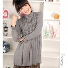 Korean Fashion Wholesale [C2-6093] high neck long sleeve Knit Tunic blouse Dress - Gray