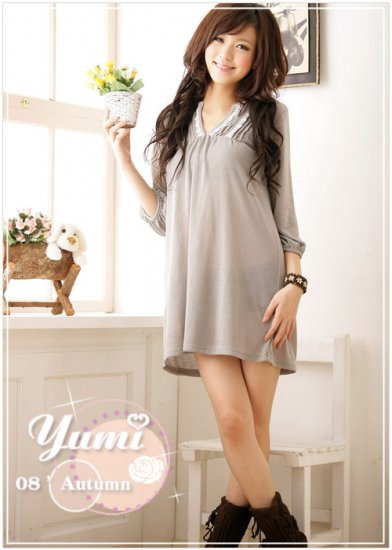 Korean Fashion Wholesale [B2-1543] long sleeve cute mini short Dress - gray