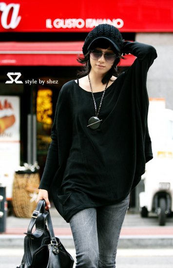 Korean Fashion Wholesale [C2-2072] Knit Sweater wool Long top Tunic Dress - black