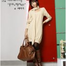 Korean Fashion Wholesale [C2-2092] wool warm comfy long sleeve sweater Tunic dress + Scarf - beige