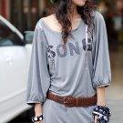 Korean Fashion Wholesale [C2- 6076] Graphic print Sequined Tunic Dress - light Gray