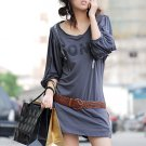 Korean Fashion Wholesale [C2- 6076] Graphic print Sequined Tunic Dress - dark Gray