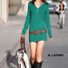 Korean Fashion Wholesale [B2-2013] buttons long sleeve Knit Thermal Sweater Dress - Green
