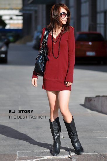 Korean Fashion Wholesale [B2-2013] button down long sleeve Thermal Knit Sweater Dress - Wine