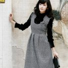 Korean Fashion Wholesale [B2-2013] Vintage style Dainty Wool Flannel Dress + Top Set - Black