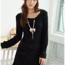 Korean Fashion Wholesale [B2-1515] Long sleeve hugging fitted Knit Sweater Dress - Black