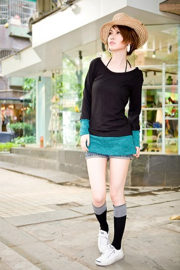 Korean Fashion Wholesale [B2-6056] Colorblock long sleeve Sweater knit Dress - Black + Teal