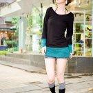 Korean Fashion Wholesale [B2-6056] Colorblock long sleeve Sweater knit Dress - Black + Teal