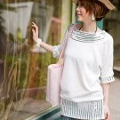 Korean Fashion Wholesale [D2-531] Sparkling Sequined cotton knit Dress - Ivory White
