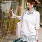 Korean Fashion Wholesale [D2-531] Sparkling Sequined cotton knit Dress - Ivory White