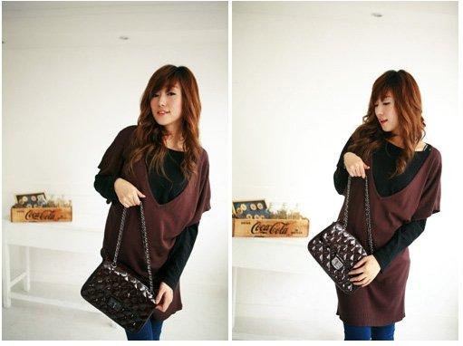 Korean Fashion Wholesale [C2- 324] 2-piece long sleeve Sweater V-neck Dress Set - Brown