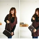 Korean Fashion Wholesale [C2- 324] 2-piece long sleeve Sweater V-neck Dress Set - Brown