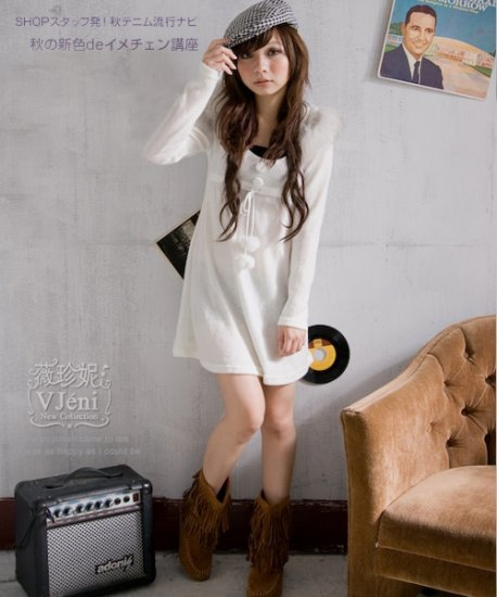 Korean Fashion Wholesale [B2-6192] Wool warm & Comfy Sweater long sleeve Dress - Ivory White