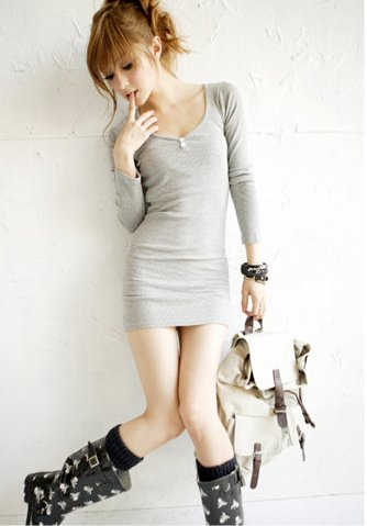 Korean Fashion Wholesale [B2-6183] long sleeve button down slim fit knit Dress - Gray