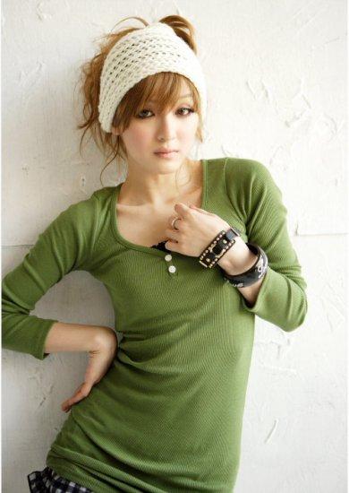 Korean Fashion Wholesale [B2-6183]  long sleeve button down slim fit knit shirt Dress - Green