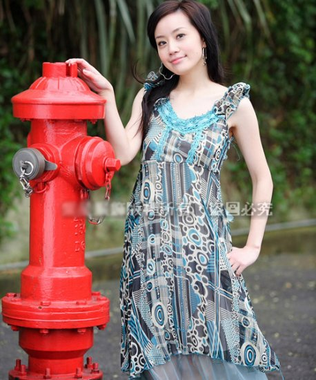 Korean Fashion Wholesale [C2-783] Paterns Chiffon Dress - Blue