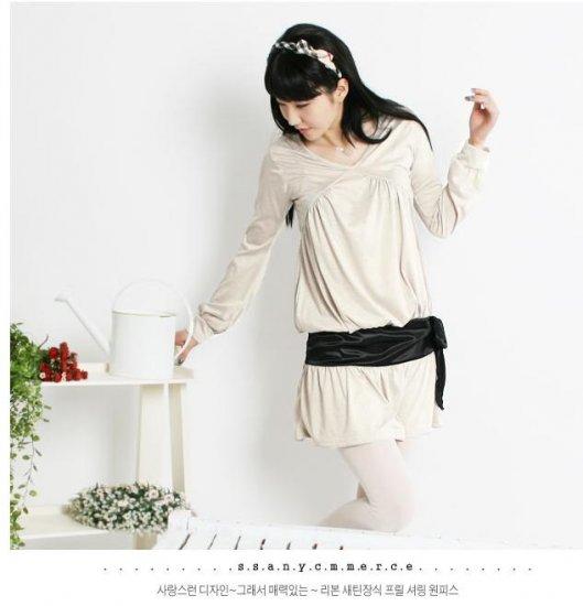 Korean Fashion Wholesale [C2-2228] Lovely Belted Dress - Beige