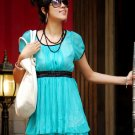Korean Fashion Wholesale [C2-6047] Pretty & Elegant Chiffon Dress - Turquoise