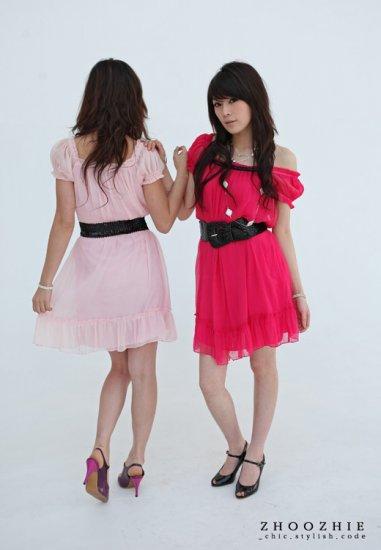 Korean Fashion Wholesale [B2-8819] SUPER Pretty Dress - hot pink