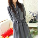 Korean Fashion Wholesale [B2-1288] Pretty Belted Dress - Gray