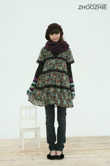 Korean Fashion Wholesale [B2-1279] Vintage Empire Dress - Blue multi