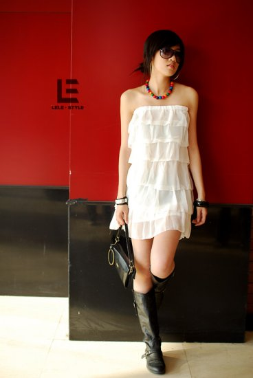 Korean Fashion Wholesale [C2-6037] 2-way-wear Tiered Dress/Skirt