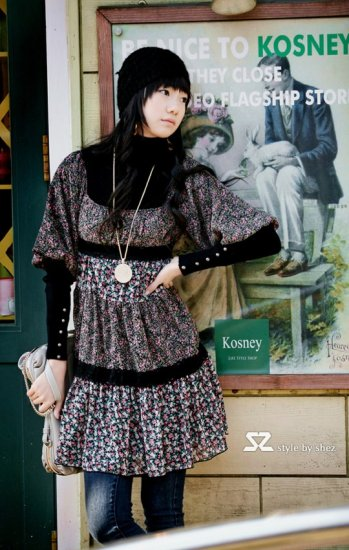 Korean Fashion Wholesale [B2-1330] Vintage High-Class Dress - Black multi