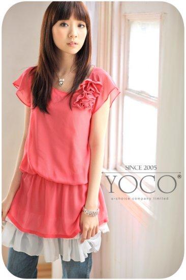 Korean Fashion Wholesale [B2-3628] Elegant Flowers Chiffon Dress
